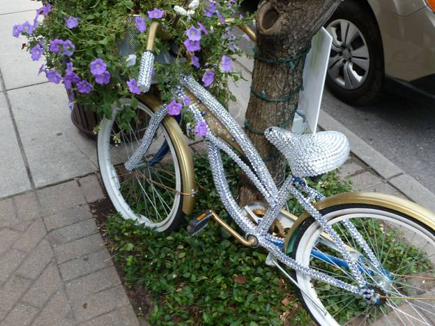 Rhinestone studded bicycle in bloom © 2012 Frosty Wooldridge