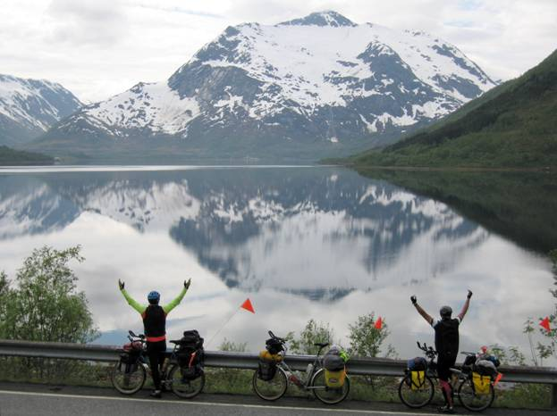 Touring cyclists, fjord, Lofotan Island, Norway © 2012 Frosty Wooldridge
