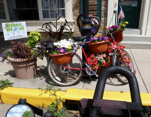 Pulling up to a bike in bloom © 2012 Frosty Wooldridge